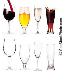 full and empty glass of alcohol Collection isolated on a...