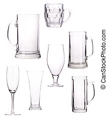 empty glass Collection isolated on a white background