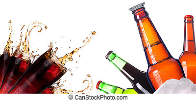 Collection of different images of drinks isolated isolated...
