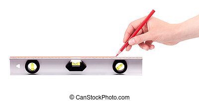 hand drawing red line using a spirit level isolated on a...