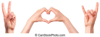 mano, actuación, señal, paz, amor, roca, rollo