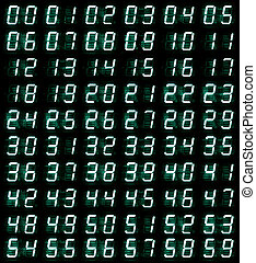 led digital numbers - numerical digital display of 0 - 59...
