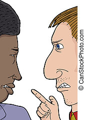 Two Men Arguing - Pair of African and Caucasian men angry...