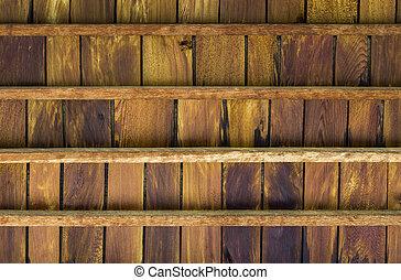 Teak wood ceiling - Closeup texture of old teak wood ceiling