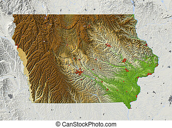 Iowa, shaded relief map - Iowa. Shaded relief map. Shows...