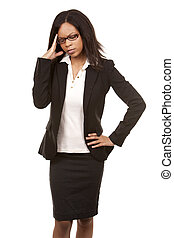 business woman having a headache - beautiful woman with...