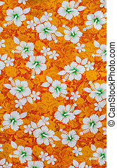 White hibiscus flowers on fabric pattern orange background