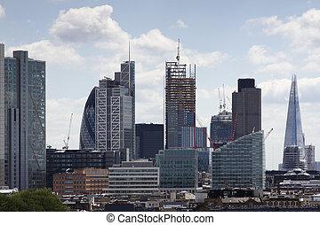 london city skyline - skyline shot of london's financial...