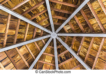 Wooden octagon ceiling - Wooden and steel beam octagon of...
