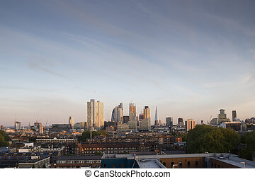 london city skyline - skyline shot of londons financial...