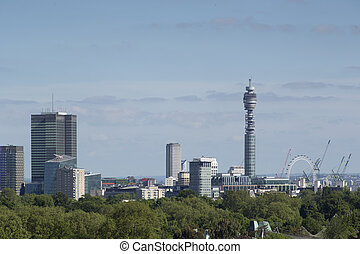 London city skyline - skyline shot of london from primrose...