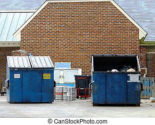 A couple of large blue trash dumpsters with a trash can,...