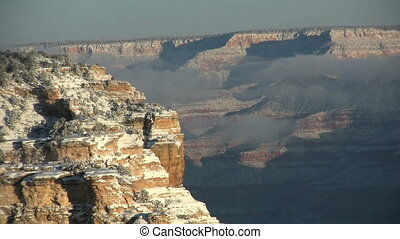 Snow Covered Grand Canyon - a scenic landscape of the grand...
