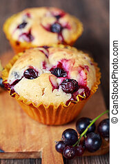 muffins with black currant close-up