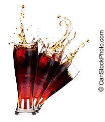 fresco, coca-cola, respingo, fundo