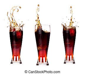 fresco, coca-cola, fundo, respingo