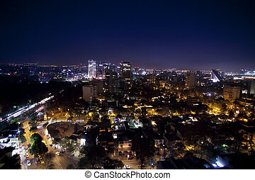 the mexico city skyline at night