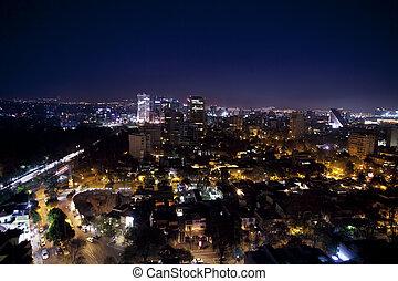 mexiko, město, městská silueta, večer