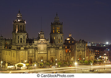 zocalo in mexico city at night - the zocalo in mexico city...