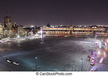the zocalo in mexico city, at night