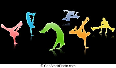 Breakdance - Silhouettes guys dancing a break on black...