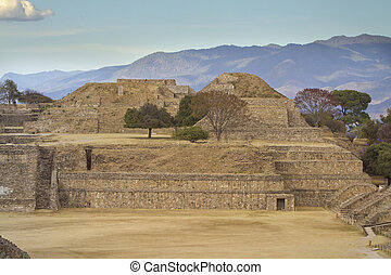 mayan ruins at monte alban, mexico - time-lapse of the mayan...