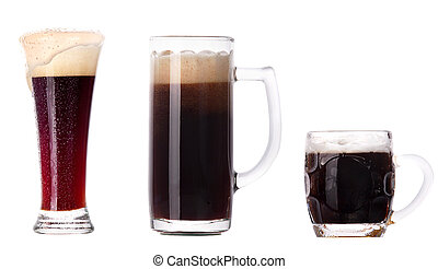 beer glass collection isolated on a white background