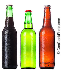 Three beer bottles Isolated on white background - Beer...