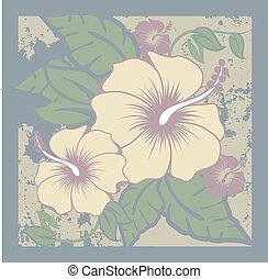 Hibiscus Flowers - Hibiscus natural colors hawaiian foliage...