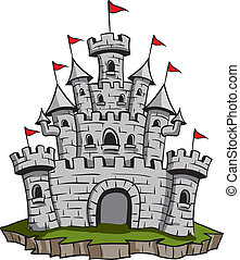 Old Castle - Old medieval stone castle illustration