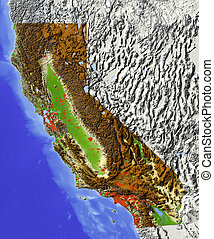 California, shaded relief map - California. Shaded relief...
