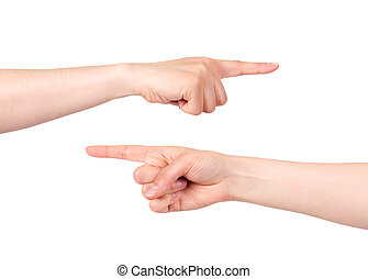 Hand pointing with index finger - Two hands pointing with...