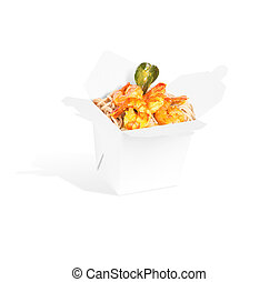 Healthy Chinese food in a container isolated