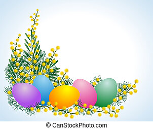 Easter eggs and mimosa