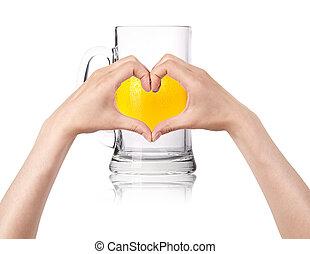 Cerveja, conceito, Amor