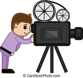Shooting Film with Movie Camera - Drawing Art of Movie...