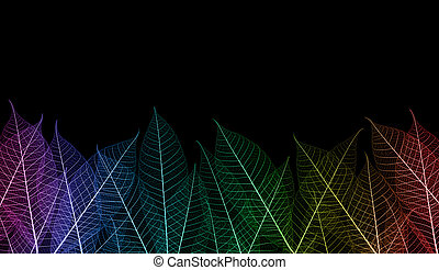 colorful leaf - rainbow color leaf stem as background shot