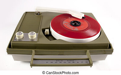 vintage record player - a portable vintage record player