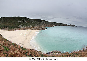 porthcurno - the stunning coastline at porthcurno on the...