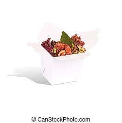 Healthy Chinese food in a container isolated on a white...