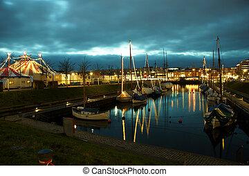 Carneval at Night at Kiel - The Harbour at Kiel at Night...