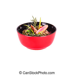 Healthy Chinese food in a red plate isolated on a white...