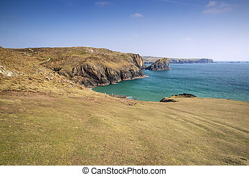 View from cliff tops across Kynance Cove in Cornwall England...