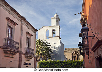 church in san miguel de allende, mexico - view of a white...