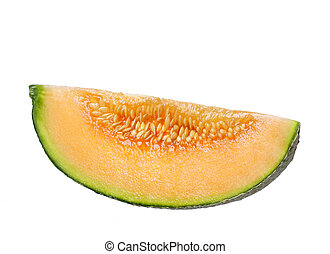 rock melon slice - slice of rock melon isolated on white