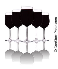 red wine in a goblet wine glass, isolated on a white...