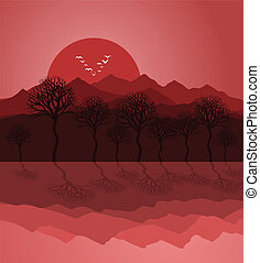 Decline2 - Sunset on mountain lake. A vector illustration