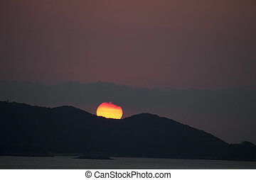 sunset at puerto vallarta, mexico - beautiful sunset over...