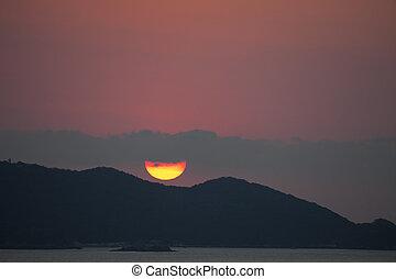 sunset at puerto vallarta, mexico - beautiful sunset over...