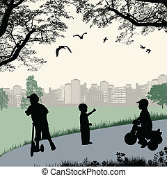 Children playing in a city park, vector illustration